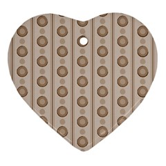 Background Rough Stripes Brown Tan Heart Ornament (two Sides)