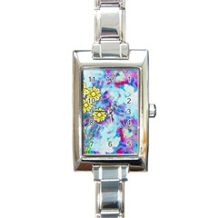 Backdrop Background Flowers Rectangle Italian Charm Watch
