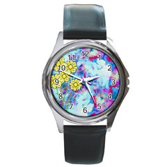 Backdrop Background Flowers Round Metal Watch