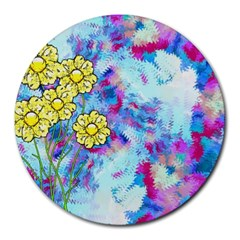 Backdrop Background Flowers Round Mousepads