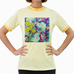 Backdrop Background Flowers Women s Fitted Ringer T Shirts