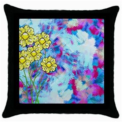 Backdrop Background Flowers Throw Pillow Case (black)