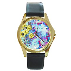 Backdrop Background Flowers Round Gold Metal Watch