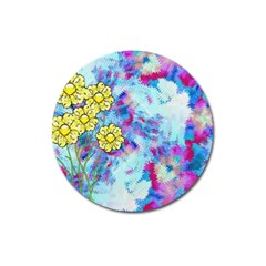 Backdrop Background Flowers Magnet 3  (round)