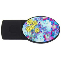 Backdrop Background Flowers USB Flash Drive Oval (2 GB)