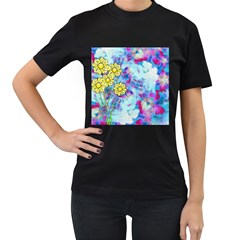 Backdrop Background Flowers Women s T Shirt (black) (two Sided)