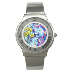 Backdrop Background Flowers Stainless Steel Watch