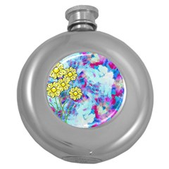 Backdrop Background Flowers Round Hip Flask (5 Oz)