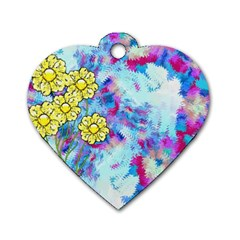 Backdrop Background Flowers Dog Tag Heart (two Sides)