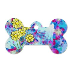 Backdrop Background Flowers Dog Tag Bone (two Sides)