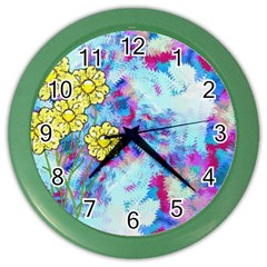 Backdrop Background Flowers Color Wall Clocks