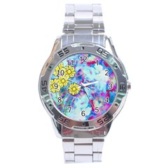 Backdrop Background Flowers Stainless Steel Analogue Watch