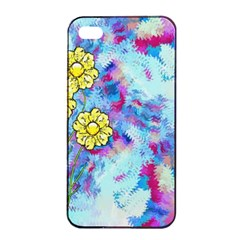Backdrop Background Flowers Apple iPhone 4/4s Seamless Case (Black)