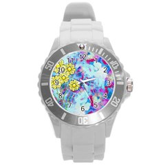 Backdrop Background Flowers Round Plastic Sport Watch (l)