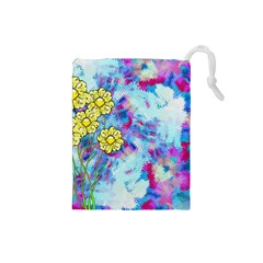 Backdrop Background Flowers Drawstring Pouches (small)