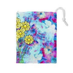 Backdrop Background Flowers Drawstring Pouches (large)