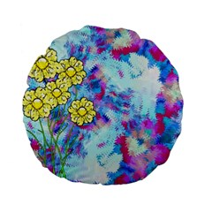 Backdrop Background Flowers Standard 15  Premium Flano Round Cushions