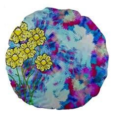 Backdrop Background Flowers Large 18  Premium Flano Round Cushions