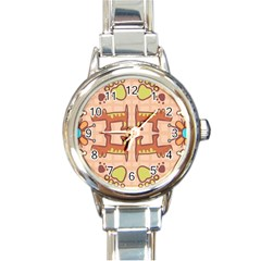 Dog Abstract Background Pattern Design Round Italian Charm Watch