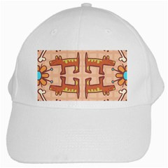 Dog Abstract Background Pattern Design White Cap