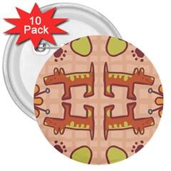 Dog Abstract Background Pattern Design 3  Buttons (10 pack)