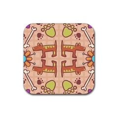 Dog Abstract Background Pattern Design Rubber Square Coaster (4 Pack)
