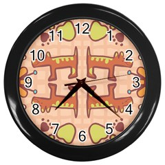 Dog Abstract Background Pattern Design Wall Clocks (black)