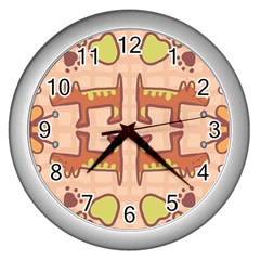 Dog Abstract Background Pattern Design Wall Clocks (Silver)