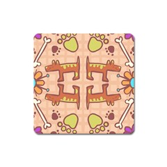 Dog Abstract Background Pattern Design Square Magnet