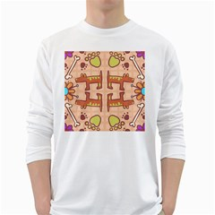 Dog Abstract Background Pattern Design White Long Sleeve T Shirts