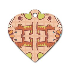 Dog Abstract Background Pattern Design Dog Tag Heart (two Sides)