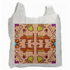 Dog Abstract Background Pattern Design Recycle Bag (two Side)