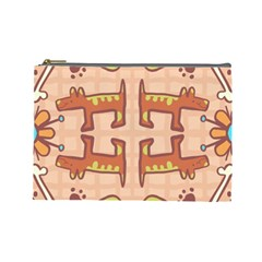 Dog Abstract Background Pattern Design Cosmetic Bag (large)