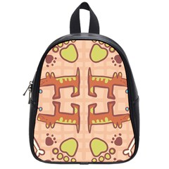 Dog Abstract Background Pattern Design School Bags (small)