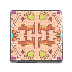 Dog Abstract Background Pattern Design Memory Card Reader (square)