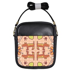 Dog Abstract Background Pattern Design Girls Sling Bags