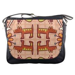 Dog Abstract Background Pattern Design Messenger Bags