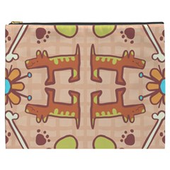 Dog Abstract Background Pattern Design Cosmetic Bag (xxxl)