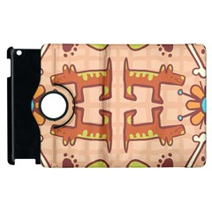 Dog Abstract Background Pattern Design Apple Ipad 2 Flip 360 Case