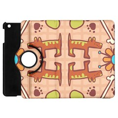 Dog Abstract Background Pattern Design Apple Ipad Mini Flip 360 Case