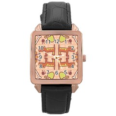 Dog Abstract Background Pattern Design Rose Gold Leather Watch
