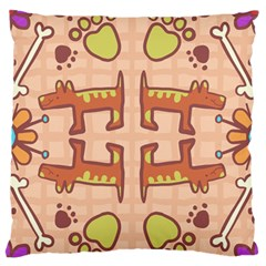 Dog Abstract Background Pattern Design Large Flano Cushion Case (one Side)