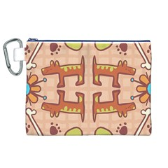 Dog Abstract Background Pattern Design Canvas Cosmetic Bag (xl)