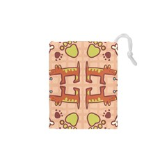 Dog Abstract Background Pattern Design Drawstring Pouches (xs)