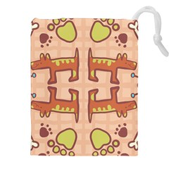 Dog Abstract Background Pattern Design Drawstring Pouches (XXL)