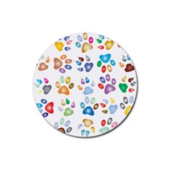 Colorful Prismatic Rainbow Animal Rubber Round Coaster (4 Pack)