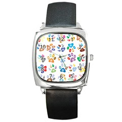 Colorful Prismatic Rainbow Animal Square Metal Watch