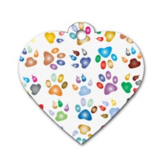 Colorful Prismatic Rainbow Animal Dog Tag Heart (Two Sides)