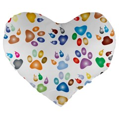 Colorful Prismatic Rainbow Animal Large 19  Premium Heart Shape Cushions