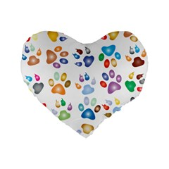 Colorful Prismatic Rainbow Animal Standard 16  Premium Flano Heart Shape Cushions